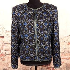 Laurence Kazar L Vtg Black Silk Blue Beaded Blazer
